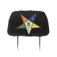 Order of the Eastern Star OES Headrest Cover- Black- Set of 2