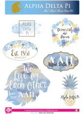 Alpha Delta Pi ADPI Sorority Stickers- Water Color