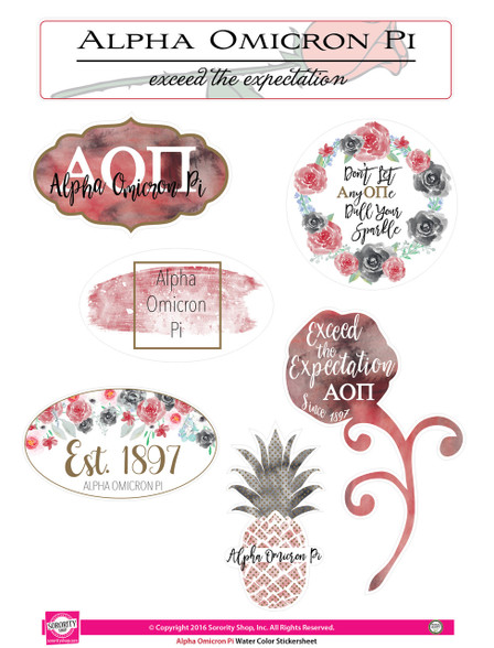 Alpha Omicron Pi AOPI Sorority Stickers- Water Color