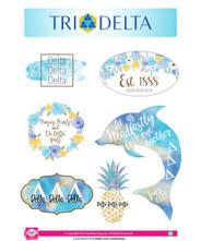 Delta Delta Delta Tri-Delta Sorority Stickers- Water Color