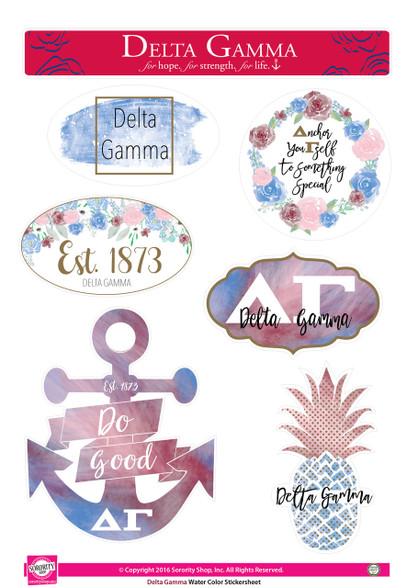 Delta Gamma Sorority Stickers- Water Color