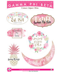 Gamma Phi Beta Sorority Stickers- Water Color