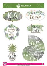 Kappa Delta Sorority Stickers- Water Color