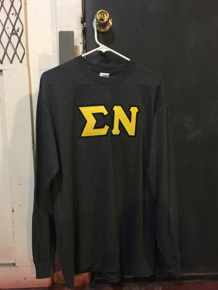 Sigma Nu Fraternity Long Sleeve Shirt- Charcoal Heater
