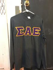 Sigma Alpha Epsilon SAE Fraternity Long Sleeve Shirt- Charcoal Heather