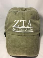 Zeta Tau Alpha ZTA Sorority Hat- Olive Green