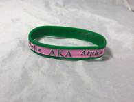 Alpha Kappa Alpha AKA Sorority Two-Tone Silicone Bracelet