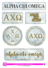 Alpha Chi Omega Sorority Stickers- Marble