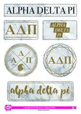 Alpha Delta Pi ADPI Sorority Stickers- Marble