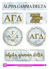 Alpha Gamma Delta Sorority Stickers- Marble