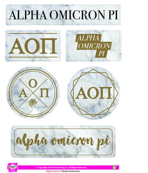 Alpha Omicron Pi AOPI Sorority Stickers- Marble