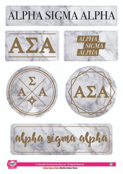 Alpha Sigma Alpha Sorority Stickers- Marble