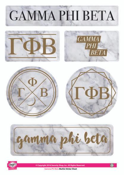Gamma Phi Beta Sorority Stickers- Marble