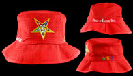 Order of the Eastern Star OES Floppy Mesh Bucket Hat- Red