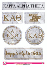 Kappa Alpha Theta Sorority Stickers- Marble