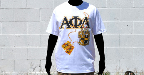 Alpha Phi Alpha Dog Tag T-Shirt- White- Size 4XL
