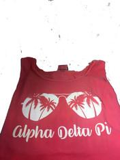 Alpha Delta Pi ADPI Sorority Sunglass Tank Top- Crunchberry