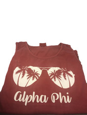 Alpha Phi Sorority Sunglass Tank Top- Brick