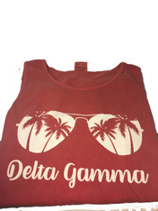 Delta Gamma Sorority Sunglass Tank Top- Crimson