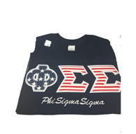 Shirt Inspiration- Sorority Double Stitched Letter Shirt- American Flag with English Spelling- Navy