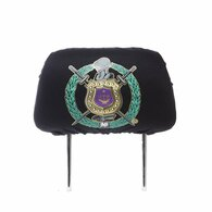 Omega Psi Phi Fraternity Headrest Cover- Black- Set of 2