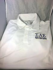 Sigma Alpha Epsilon SAE Fraternity Dri-Fit Polo-White