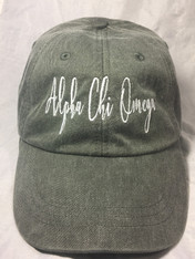Alpha Chi Omega Sorority Script Hat- Charcoal
