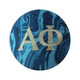 Alpha Phi Blue Marble Button with Metallic Silver Writing