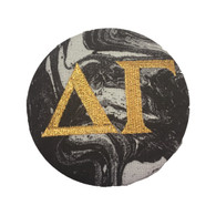 Fabric Button Inspiration- Black Marble Button with Metallic Gold Writing