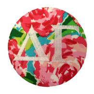Delta Gamma Sorority Floral Fabric Button with White Writing
