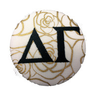 Delta Gamma Sorority Gold Rose Button with Black Writing