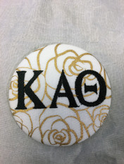Kappa Alpha Theta Sorority Gold Rose Button with Black Writing