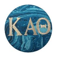 Kappa Alpha Theta Sorority Blue Marble Button with Metallic Silver Writing