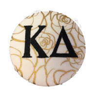 Kappa Delta Sorority Gold Rose Button with Black Writing