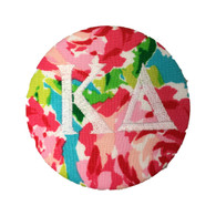Kappa Delta Sorority Floral Fabric Button with White Writing