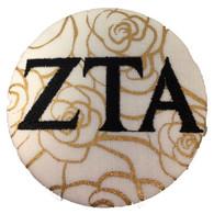 Zeta Tau Alpha ZTA Sorority Gold Rose Button with Black Writing