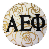 Alpha Epsilon Phi AEPHI Sorority Gold Rose Button with Black Writing