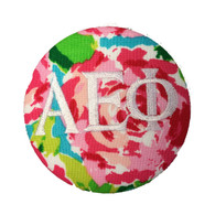 Alpha Epsilon Phi AEPHI Sorority Floral Fabric Button with White Writing