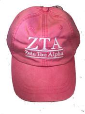 Zeta Tau Alpha ZTA Sorority Hat- Hot Pink
