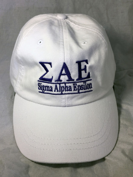 Sigma Alpha Epsilon SAE Fraternity Hat- White