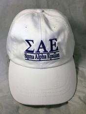 Sigma Alpha Epsilon SAE Fraternity Hat- White