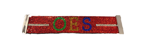 Order of the Eastern Star OES Bling Bracelet- Red