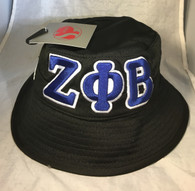 Zeta Phi Beta Sorority Founding Year Floppy Mesh Bucket Hat-Black-Front