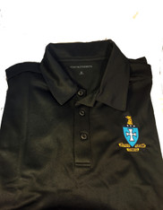 Sigma Chi Fraternity Dri-Fit Polo- Crest-Black