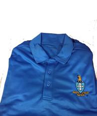 Sigma Chi Fraternity Dri-Fit Polo- Crest-Blue