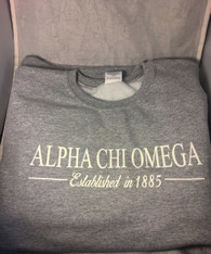 Alpha Chi Omega Sorority Crewneck Sweatshirt- Athletic Heather Gray
