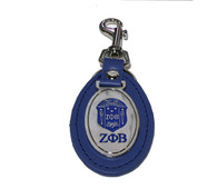 Zeta Phi Beta Sorority Leather Key Chain- Blue