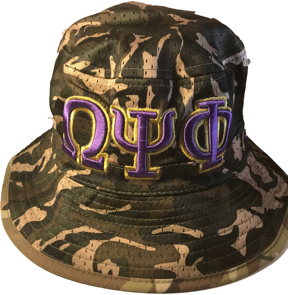 Omega Psi Phi Fraternity Floppy Mesh Bucket Hat- Camouflage. Click to  enlarge 3417aee6325