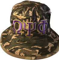 Omega Psi Phi Fraternity Floppy Mesh Bucket Hat- Camouflage