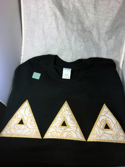 Delta Delta Delta Tri-Delta Black Double Stitched Letter Shirt – Gold Rose